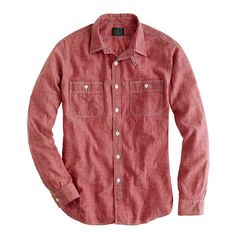 Red selvedge chambray utility shirt @ J.Crew (pair with white pants)