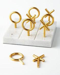 Marble + Brass Tic-Tac-Toe | Jonathan Adler