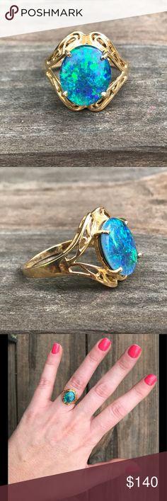 Australian Triple Fire Opal Ring Set in 10 karat gold. Perfect condition. Jewelry Rings
