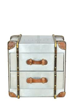 Silver Aero Metal Finish 2 Drawer Trunk by CDI on @HauteLook