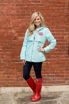 Monogrammed Rain Jacket in this color exactly and the same monogram color :) - Women's Sizes on Etsy, $62.50