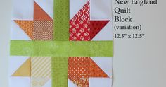 "New England Quilt Block tutorial posted by Andy...12.5"" x 12.5"" block ..pull out those 3"" and 3.5"" pieces and use them up!  This will also make enough half square triangles (HSTs) for two scrappy blocks.  To make just enough HSTs for just one block then you will only need one 3.5"" square of each color.  Your block will be less scrappy looking"