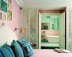 Fretwork mirrored closet doors