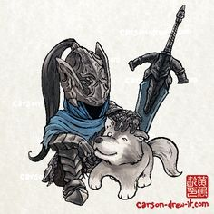 DARK SOULS DOODLES Artorias & Sif — Make sure to follow and watch me drawLIVEonTWITCH! See you online!