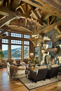 This is my style of living room. I'd love to have this in a log cabin in the mountains...