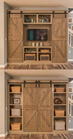 Use barn doors on your entertainment center and hide your TV when you aren't using it, revealing a rustic bookcase and design smarts!