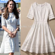 Kate Middleton Fashion Princess Dress Women's Elegant White Cotton Embroidery Hollow Casual High Quality Dress sale-in Dresses from Women's Clothing & Accessories on Aliexpress.com | Alibaba Group