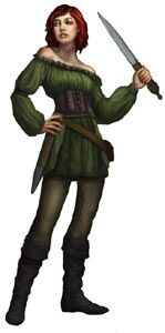 A female Sims character in Medieval garb in The Sims Medieval