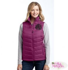 Monogrammed Ladies Mission Puffy Vest in black, white and berry  Apparel & Accessories > Clothing > Outerwear > Vests