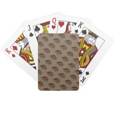 Brown Bears Playing Cards