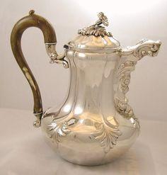 Belgium Coffeepot Ornate with Wood Handle Circa 1831-68