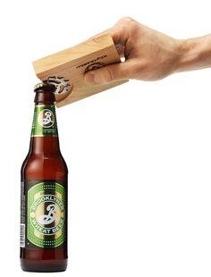 RECLAIMED BIKE GEAR & WOOD BOTTLE OPENER COASTER - would make a cool diy guy gift!