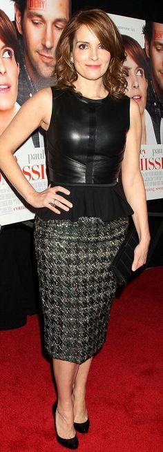 Who made Tina Fey's black peplum skirt, tweed skirt, and black pumps that she wore in New York on March 5, 2013?