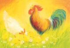 Waldorf Toys - postcards and posters. chickens and roosters