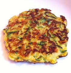 Benodigdheden (voor 3-4 personen): 2 courgette's 2 eieren 100 gr. geraspte kaas 1 tl. milde kerriepoeder 1-2 tenen knoflook, uitgeperst peper zout Bereidingswijze: Rasp de courgette's grof, bestroo... Healthy Lunches For Work, Prepped Lunches, Healthy Snacks, Paleo Diet Food List, Low Carb Burger, Feel Good Food, Chips, Diet Meal Plans, Mediterranean Recipes