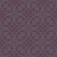 This Sofia Damask Wallpaper features an intricate embossed damask pattern in dark grey with glitter highlights, on a deep aubergine background with a subtle sheen Grey Wallpaper Living Room, Plum Wallpaper, Pattern Wallpaper, Aubergine Bedroom, Art Nouveau Wallpaper, Purple Pattern, Doodle Art, House Colors, Pattern Design