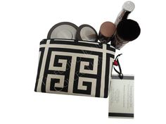 Ivory Black Greek Key Makeup Pouch  Chevron by TalfourdJones