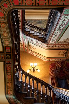 Opulent stenciled ornament on grand staircase in a elegant Victorian-Era townhouse in Pittsburgh.