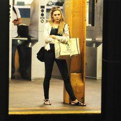 Celebs On the Subway Make Commuting Look Cool #refinery29  http://www.refinery29.com/2015/01/81604/celebrities-riding-the-subway#slide-7  Elizabeth Olsen is just like every other New Yorker waiting for the subway: unimpressed.
