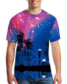 9ac8a9163447 3D palm tree galaxy t shirt for men short sleeve Galaxy T Shirt