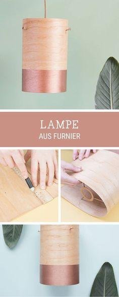 DIY-Anleitung für eine Lampe aus Furnierholz mit Kupfer, moderne Wohndeko / craft your own home decor: DIY wooden lamp via DaWanda.com #DIYHomeDecorLamp