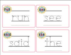 Freebie Read and Write Sight Word Cards