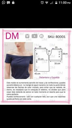 Blouse with bare shoulders T Shirt Sewing Pattern, Pattern Drafting, Dress Sewing Patterns, Sewing Patterns Free, Clothing Patterns, Blouse Patterns, Techniques Couture, Sewing Techniques, Fashion Sewing