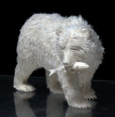 Arte Carte Sculture Allen and Patty Eckman Origami Paper Art, Paper Crafts, Paper Artwork, Sculpture Art, Paper Sculptures, Native American Art, Clay Art, Polar Bear, Fine Art Paper