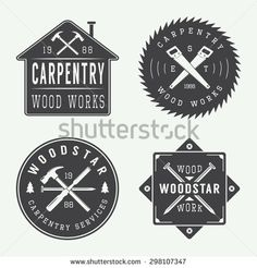 Stock vector of Set Of Vintage Carpentry And Mechanic Labels Emblems And Logo. Vector Art by AkimD from the collection iStock. Get affordable Vector Art at Thinkstock Canada. Construction Company Logo, Construction Design, Construction Branding, Construction Business, Woodworking Logo, Woodworking Projects Plans, Woodworking Clamps, Business Logo, Business Card Design