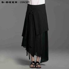 【上新】sdeer圣迪奥专柜正品女装夏装黑色拼接设计感长裙4281129-tmall.com天猫