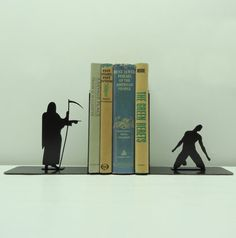 Grim Reaper Metal Art Bookends  Free USA by KnobCreekMetalArts, $62.99