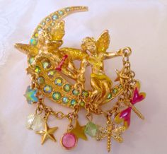 Vintage Kirks Folly Brooch Angels Crescent Moon Blue Green Crystal Charms