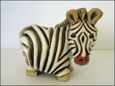SOLD!  THANK YOU!  Artesania Rinconada ZEBRA Figurine #48 Retired Vintage - Handcrafted in Uruguay by SusansShopSelections on Etsy