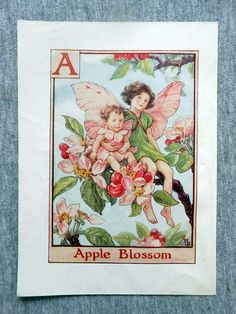 This beautifull Apple Blossom Alphabet Flower Fairy Vintage Print by Cicely Mary Barker was printed c.1940 and is an original book plate from and early Flower Fairy book. This is an original page (book plate) from the vintage book and not a modern copy or reproduction. This print is