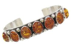 Navajo Jewelry Amber And Sterling Silver Cuff Bracelet HS60359