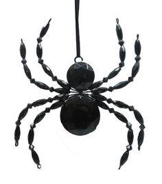 Maker's Halloween Beaded Spider Ornament-Black