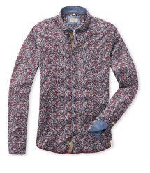 Q1 Hemd MAIK Millefleur-Print/Rot/Grau/Marine/Weiß in 100% Baumwolle Slim Fit, Shirt Dress, Suits, Mens Tops, Shopping, Dresses, Fashion, Red, Cotton