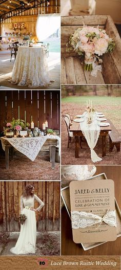Lace Inspired Brown Rustic Wedding Idea