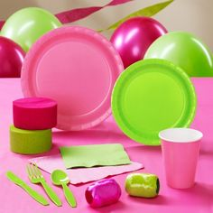 Lime Green & Hot Pink Standard Pack for 24 Party Supplies Party Kit, Party Packs, Baby Party, Party Ideas, Diva Party, Party Themes, Prom Party, Zombie Birthday Parties, Zombie Party