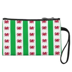 Welsh dragon pattern wristlet clutches