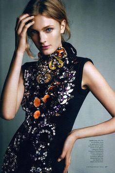 Constance Jablonski wears Lanvin in the September issue of Harper's Bazaar Australia. Shot by Victor Demarchelier.