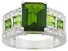 3.40ct Emerald Cut With 1.00ctw Baguette Chrome Diopside And .80ctw Ro