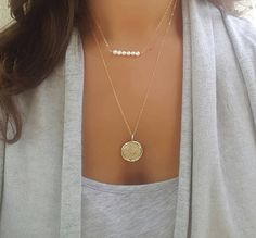 Gold coin necklace gold layered necklace layering jewelry