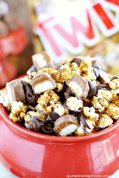 This Twix Caramel Popcorn is great to eat while watching a Halloween scary movie marathon!