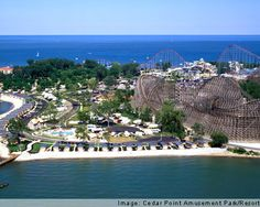Cedar Point Amusement Park Ohio is a favorite vacation destination for people traveling in Ohio. Located in Sandusky on the Lake Erie Peninsula, Cedar Point Amusement Park is about an hour from Cleveland and Toledo. Surrounded by water on three sides the park has a resort-style character to it and has a wealth of things to do for the whole family.