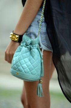 Chanel Quilted Vintage Bag in seafoam green... gorgeous color!