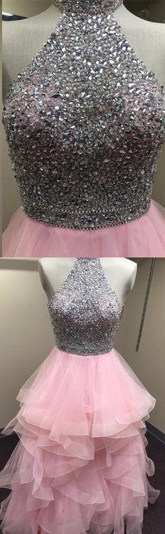 cute blush pink organza ruffle ball gowns prom dresses beaded halter evening dress