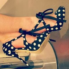 Polka Dot Shoes | I have a polka dot addiction. I would love these shoes plain black, but they're polka dotted too?!