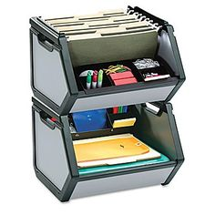 Stackable storage bin accommodates letter-size, hanging file folders and supplies. Find It Stackable Storage Bin Stackable Storage Boxes, Stacking Bins, Plastic Box Storage, Storage Bins, Plastic Baskets, Office Supply Organization, Office Storage, Organization Ideas, Cubicle Organization
