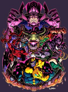 Doctor Doom, Thanos, Venom, Galactus and other Marvel villains Comic Book Villains, Marvel Villains, Marvel Comics Art, Cosmic Comics, Thanos Marvel, Marvel Heroes, Marvel Avengers, Marvel Comic Character, Marvel Characters